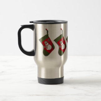 Snowman on Christmas Stocking Travel Mug