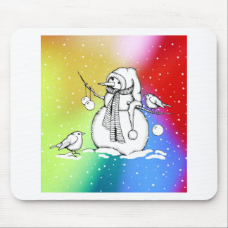 Snowman on Multi-Colored Background, Snowflakes Mouse Pad