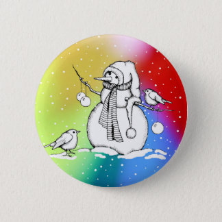 Snowman on Multi-Colored Background, Snowflakes Pinback Button
