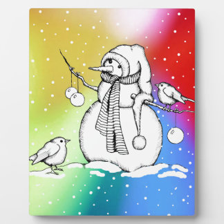 Snowman on Multi-Colored Background, Snowflakes Plaque