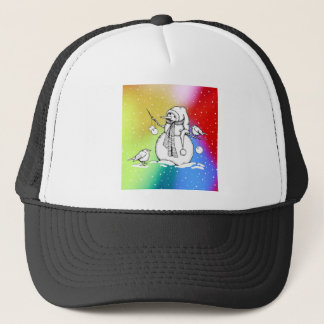 Snowman on Multi-Colored Background, Snowflakes Trucker Hat