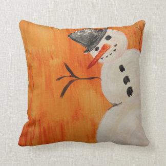 Snowman on Orange Throw Pillow