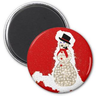 snowman on red fridge magnet