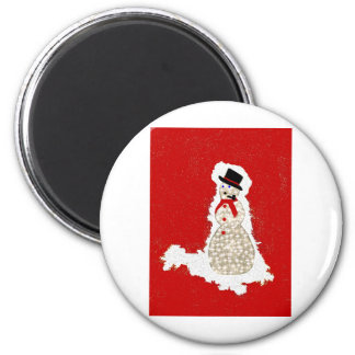 snowman on red refrigerator magnets
