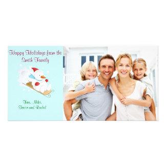 Snowman on sleigh Family Photo Card
