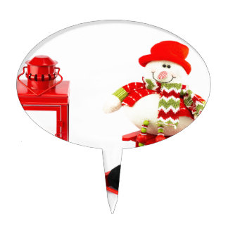 Snowman on sleigh with red lantern cake topper