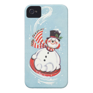Snowman on Snow Disc Case-Mate iPhone 4 Case