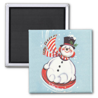 Snowman on Snow Disc Magnet