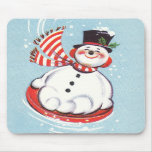 Snowman on Snow Disc Mouse Pad