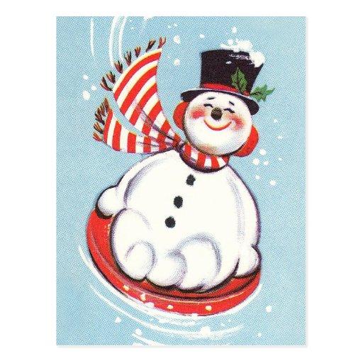 Snowman on Snow Disc Postcard