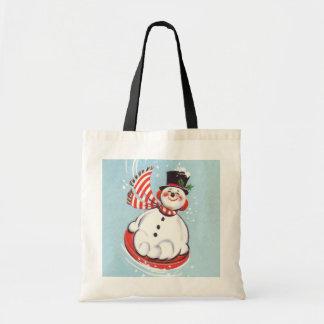 Snowman on Snow Disc Tote Bag