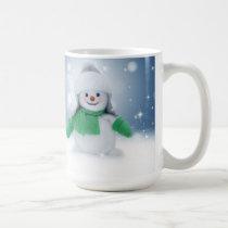 Snowman on Snowy Christmas Night Mug