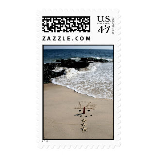 Snowman on the Beach Christmas Holiday Stamps