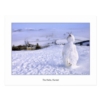Snowman on The Helm, Kendal, Cumbria Postcard