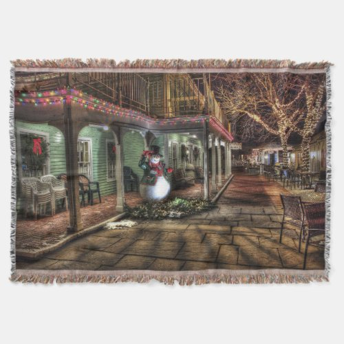Snowman on the Porch in Winter Wonder Land Throw Blanket