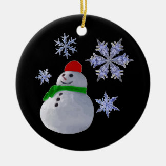 Snowman Double-Sided Ceramic Round Christmas Ornament