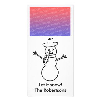 Snowman Outline, Let it snow, Holiday photo cards
