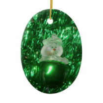 Snowman Oval Oranament Ceramic Ornament