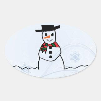 Snowman Oval Sticker