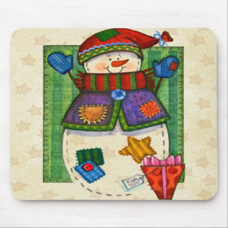 Snowman Patches Mousepad