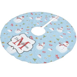 Snowman Pattern on Blue Monogrammed Brushed Polyester Tree Skirt