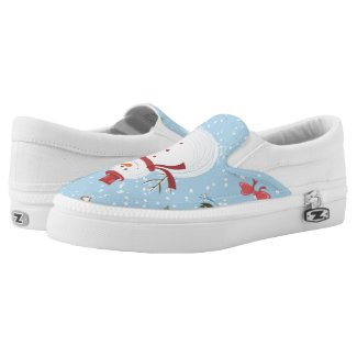 Snowman Pattern Printed Shoes