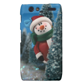Snowman peeking from behind tree with glitter snow droid RAZR cover