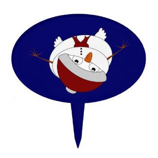Snowman peering from below  Santa hat Cake Topper