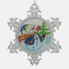 Snowman Pewter Snowflake Decoration at Zazzle