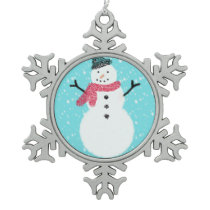 Snowman Pewter Snowflake Ornament