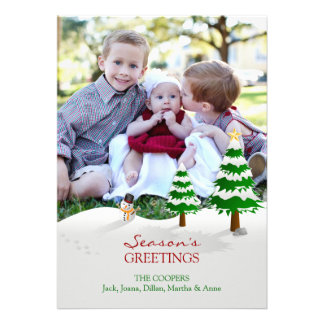 Snowman Photo Season's Greetings Flat Card Personalized Announcement