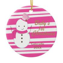 Snowman Pink Zebra Baby's 1st Christmas Ornament