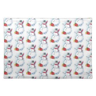 Snowman place matte cloth placemat