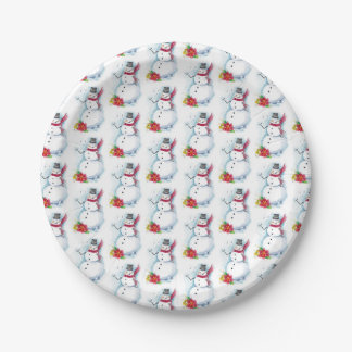 Snowman Plate 7 Inch Paper Plate