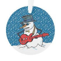 Snowman Playing An Electric Guitar Ornament