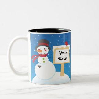Snowman post Two-Tone coffee mug