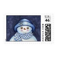 Snowman Postage Stamp Christmas stamp