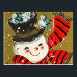 """Snowman   Postcards<br><div class=""""desc"""">Retro style holiday postcard featuring a vintage Snowman design. Click Customize It to add your own custom text and photos on the back of the card or leave blank to add a handwritten message for family and friends.</div>"""