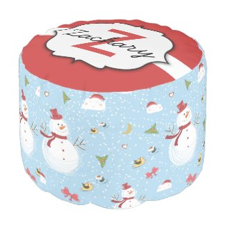 Snowman pouf personalized
