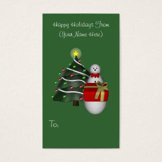 Snowman Present Christmas Holiday Gift Tag