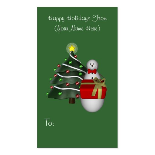 Snowman Present Christmas Holiday Gift Tag Business Card