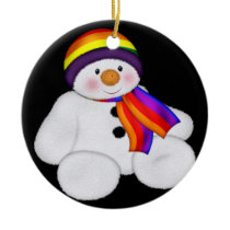 Snowman Pride Ceramic Ornament