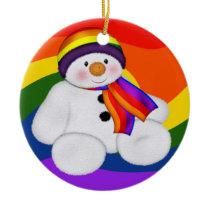 Snowman Pride Ceramic Ornament