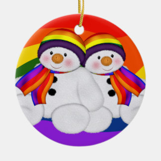Snowman Pride Double-Sided Ceramic Round Christmas Ornament