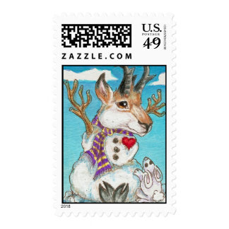 Snowman Pronghorn Antelope and Bunny Wildlife Art Postage Stamps