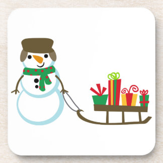 SNOWMAN PULLING PRESENTS BEVERAGE COASTERS