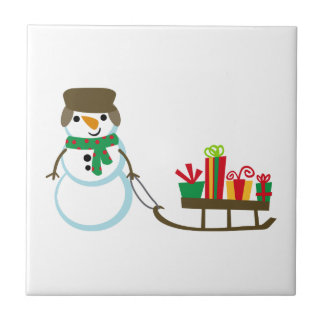 SNOWMAN PULLING PRESENTS SMALL SQUARE TILE