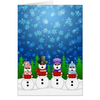Snowman Quartet Caroler Singing Snowy Night Poster Greeting Cards