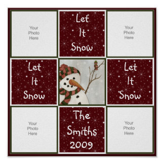Snowman Quilt Scrapbook Page Poster