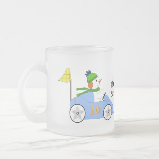 Snowman Race Car Driver 10 Oz Frosted Glass Coffee Mug